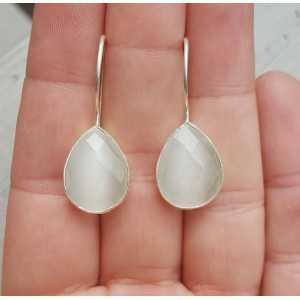 Silber Ohrringe mit Tropfen-förmigen weißen cat ' s eye