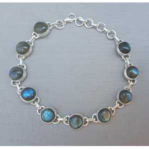 Silver bracelet with round cabochon cut Labradorite