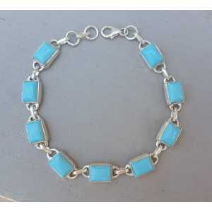 Zilveren armband gezet met rechthoekige Turkoois