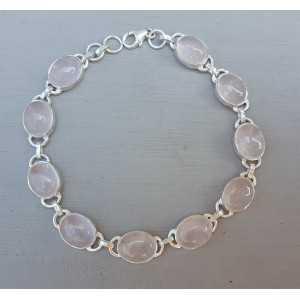 Zilveren armband ovale cabochon geslepen Rozenkwarts