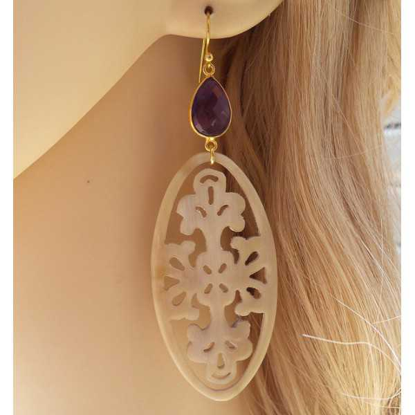 Gold plated earrings with Amethyst and buffalo horn