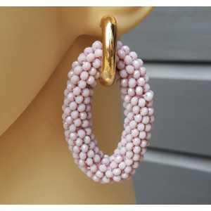 Creolen met grote ovale van lila/paars kleurige Kristallen