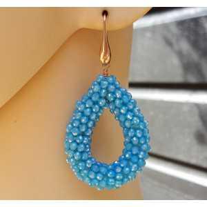 Oorbellen open druppel van blauwe kristallen