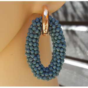 Creolen grote ovale van jeans blauwe Kristallen