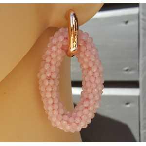 Creolen met grote ovale van roze Kristallen