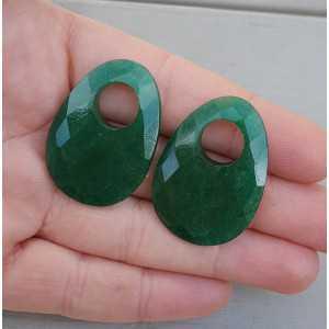 Creool hanger set met ovale Emerald
