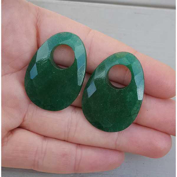 Creole earrings set with oval Emerald