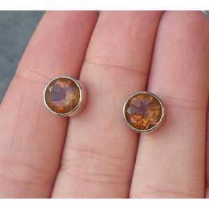 Zilveren oorknoppen gezet met ronde Alexandriet