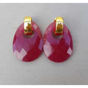Creoles with oval Ruby pendant