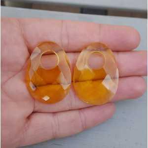 Creool hanger set met ovale Citrien quartz
