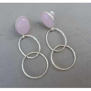 Silber Ohrringe mit rosa Chalcedon und Silber Ringe