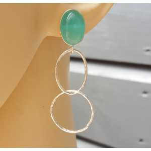 Silber Ohrringe mit aqua Chalcedon und Silber Ringe