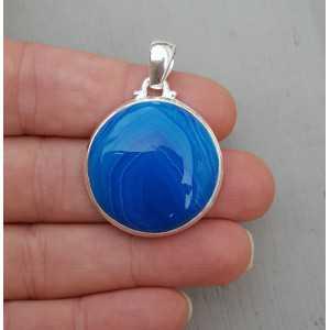 Zilveren hanger ronde blauwe Botswana Agaat