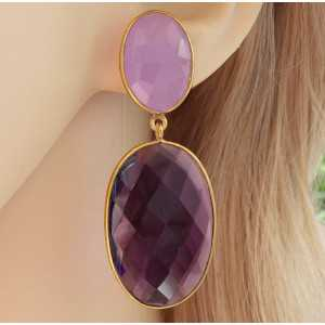 Gold plated earrings with lavender Chalcedony and Amethyst