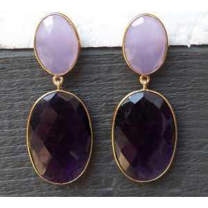 Vergoldete Ohrringe mit Lavendel Chalcedon und Amethyst