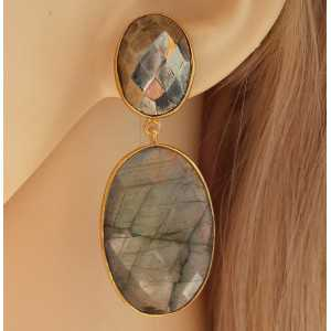 Gold plated earrings set with faceted Pyrite and Labradorite