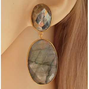 Vergulde oorbellen gezet met facet Pyriet en Labradoriet