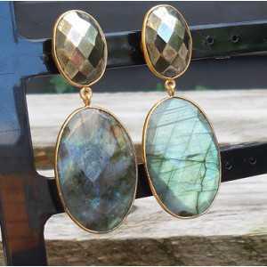 Vergoldete Ohrringe-set mit facettierten Pyrit und Labradorit