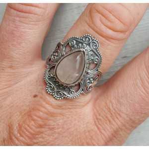 Silber ring set mit Rosenquarz und geschnitztem Kopf