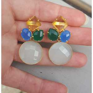 Goud vergulde oorbellen met Chalcedoon, groene Onyx en Citrien quartz