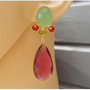 Goud vergulde oorbellen met groene Chalcedoon en roze Toermalijn quartz