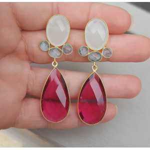 Goud vergulde oorbellen met witte Chalcedoon en roze Toermalijn quartz