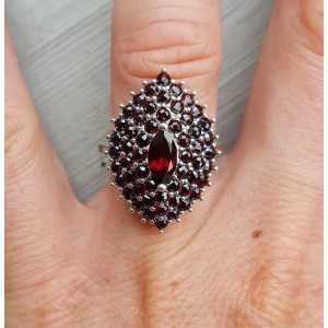 Silber ring mit marquise und Runde Granate 17 mm