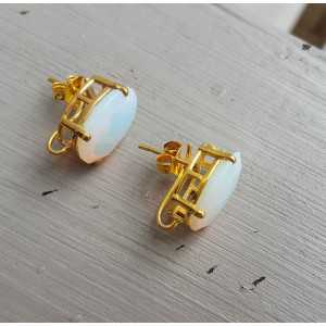 Vergoldete oorknoppen set mit Opaliet