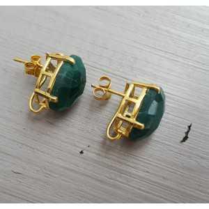Vergulde oorknoppen gezet met Emerald