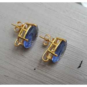 Vergoldete oorknoppen set mit Ioliet blau Quarz