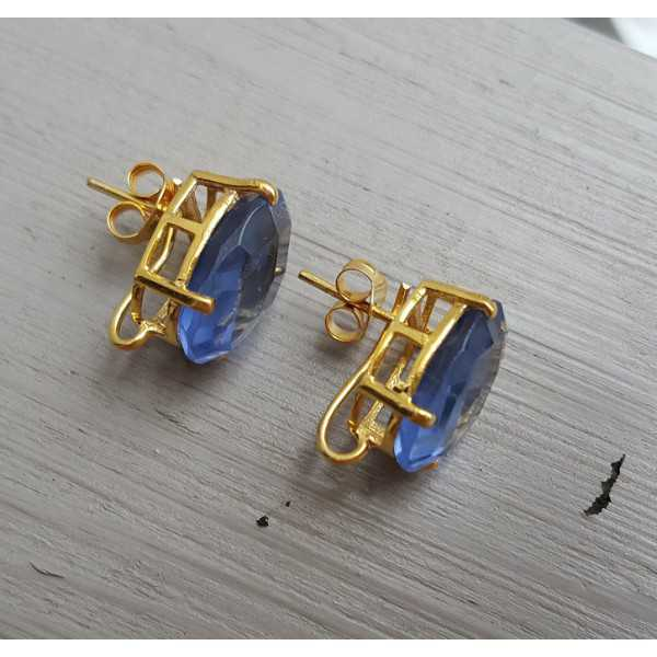 Gold plated oorknoppen set with Ioliet blue quartz