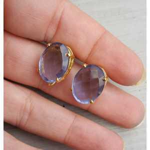Vergulde oorknoppen gezet met Ioliet blauwe quartz