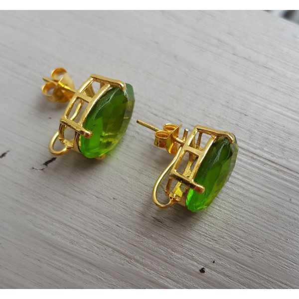 Vergoldete oorknoppen-set mit Peridot Quarz