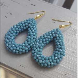 Vergoldete Ohrringe mit offenem drop-jeans blau Kristalle