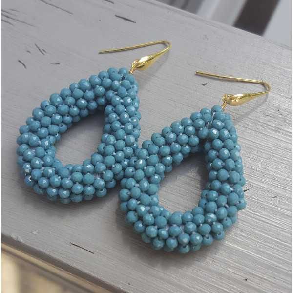 Gold plated earrings with open drop jeans blue crystals