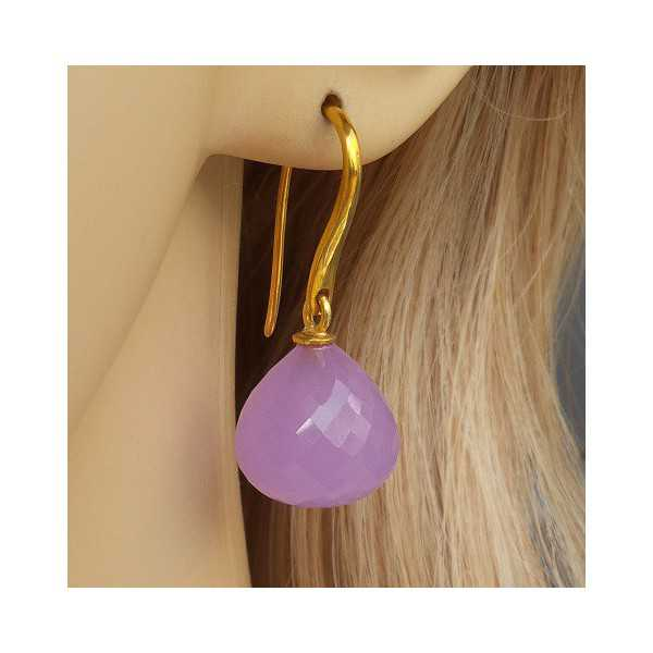 Gold plated earrings with lavender Chalcedony drop