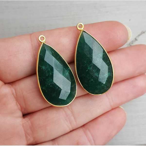 Goud vergulde losse hanger set met druppelvormige Emerald