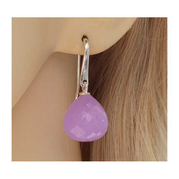 Silver earrings with lavender Chalcedony drop