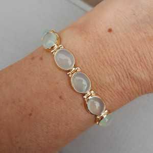 Rosé vergulde armband gezet met aqua Chalcedoon