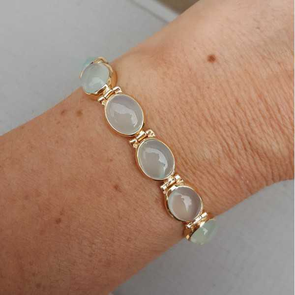 Rosé gold-plated bracelet set with aqua Chalcedony