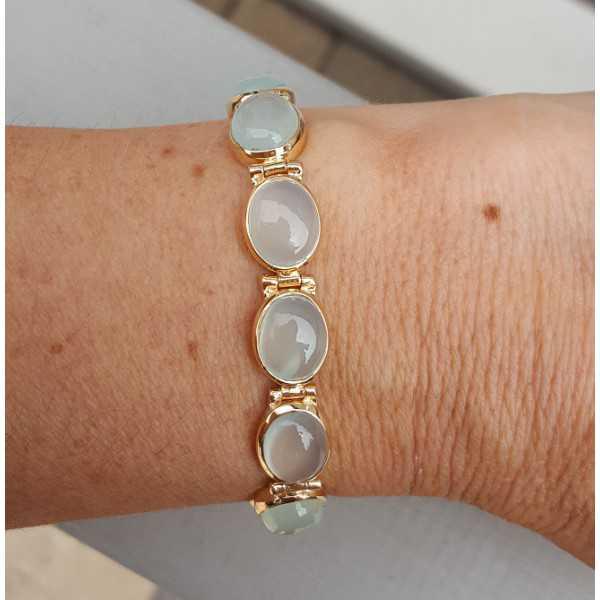 Rosé-vergoldetes Armband-set mit aqua Chalcedon