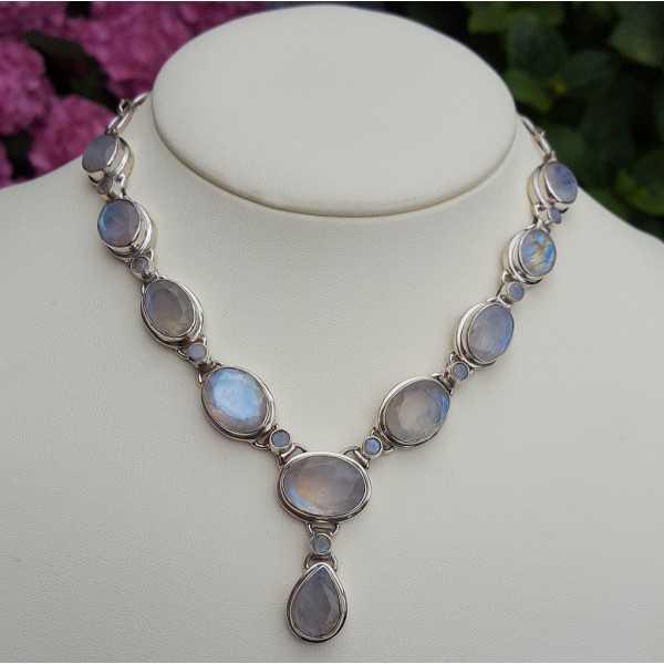 Silber Edelstein Halskette mit Facette schneiden Mondsteine