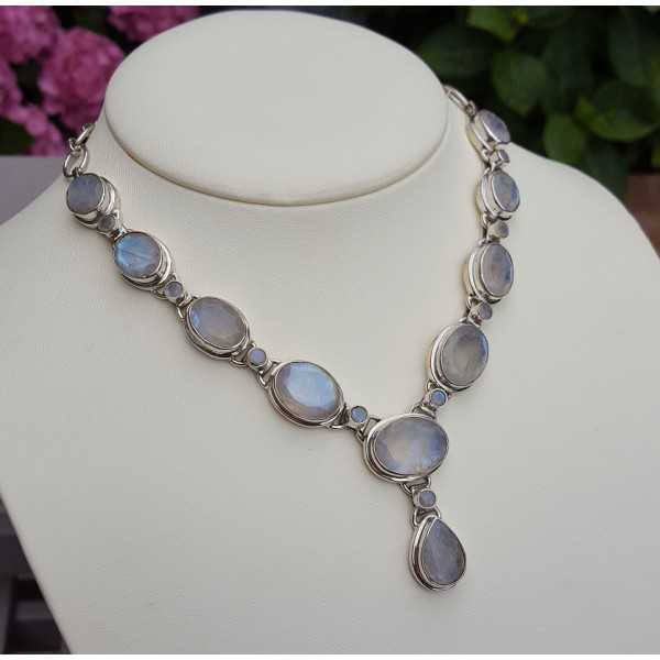 Silver gemstone necklace with facet cut Moonstones