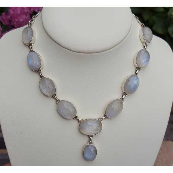 Silber Halskette set mit cabochon Ovale Mondsteine