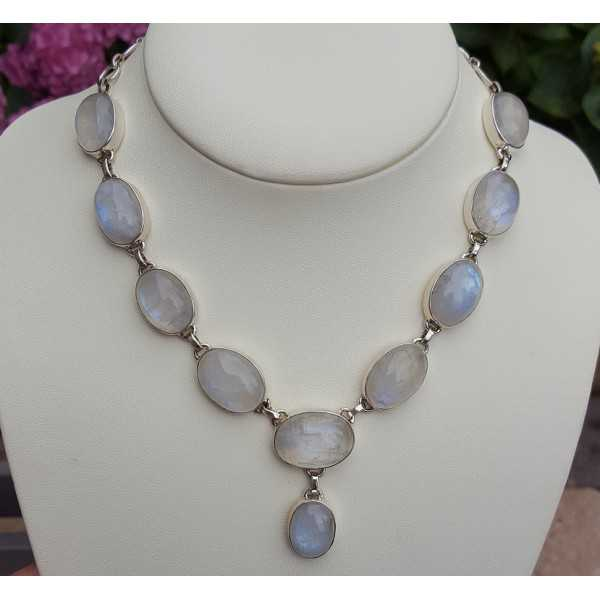 Silver necklace set with cabochon oval Moonstones