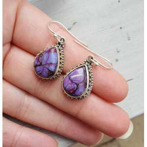 Zilveren oorbellen koper paars Turkoois in bewerkte setting