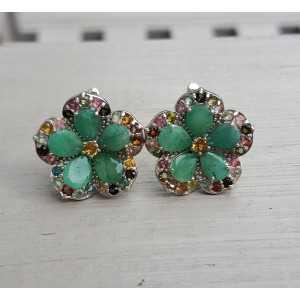 Silber Ohrringe mit Smaragd und Turmalin