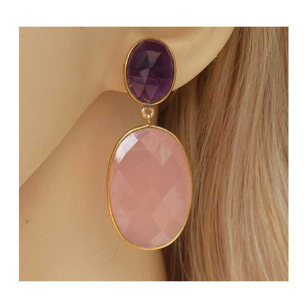 Gold plated earrings set with oval rose quartz and Amethyst