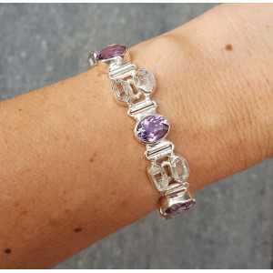Zilveren armband gezet met ovale Amethist en ruw Herkimer diamant