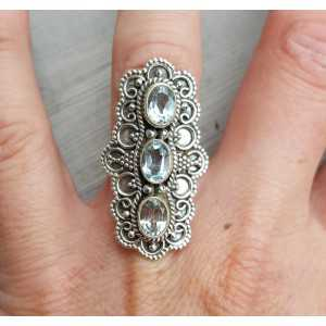 Silber ring set mit drei blauen Topase 17 mm